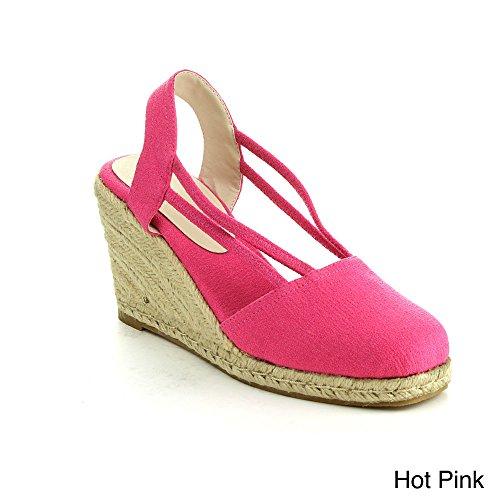 C LABEL ROLLIN-5 Women's Espadrille Elastic Sling Back Wedge Sandals,HOT PINK,6