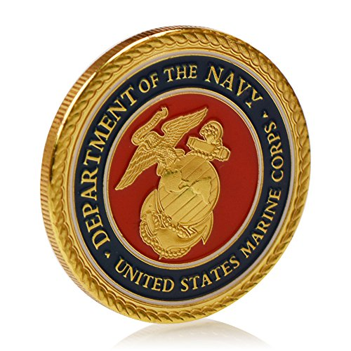 United States Marine Corps Coin - Gold Plated Challenge Coin, Stunning (Marine Challenge Coin)