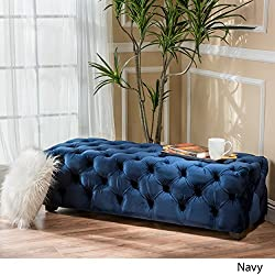 Great Deal Furniture 298425 Provence Navy Blue Tufted Velvet Fabric Rectangle Ottoman Bench