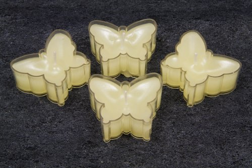 4 St/ück pro Verkaufseinheit Teelichter in Schmetterlingsform in creme