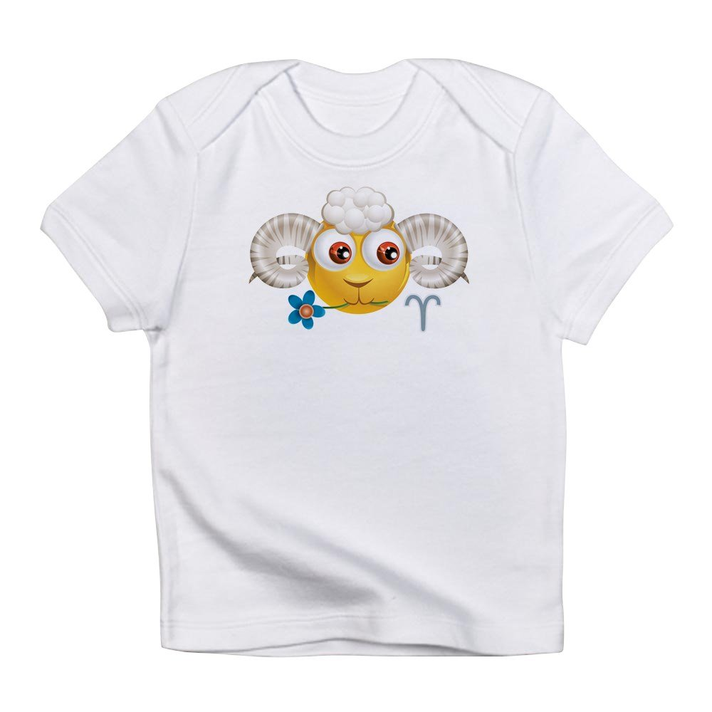 Truly Teague Infant T-Shirt Smiley Face Zodiac Aries 0 To 3 Months Cloud White