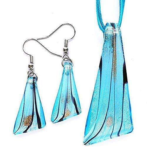 FidgetGear Silver Aqua Triangle Lampwork Glass Murano Bead Pendant Necklace Earrings Set