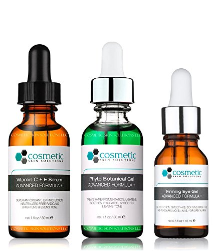Vitamin C+E Serum + Phyto + Botanical Gel + Firming Eye Gel Advanced Formula +. Prevent / Lighten & Hydrate / Firm Eyes - 3 Combo Pack - 1 fl oz / 30 ml each.