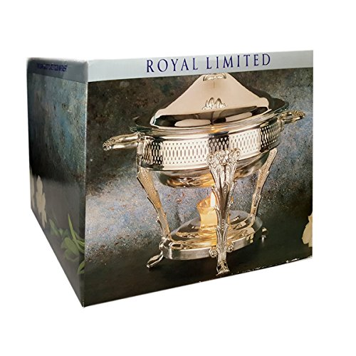 Royal Limited 2 Quart Silver Plate Covered Food Warmer With Ovenware Glass Liner Style No. SH448H 2 Quart Chafing Dish