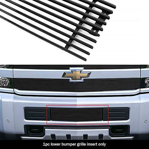 APS Compatible with 2015-2019 Chevy 2500HD 3500HD Lower Bumper Black Billet Grille Insert C66319H (Best Grill Covers 2019)