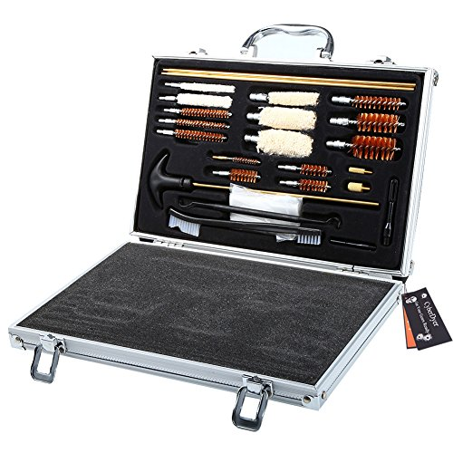 CyberDyer 74 Pieces Handgun Rifle Pistol Cleaning Kit Gun Brush Accessory with Carrying Case (Barrels Shotgun Rifled)
