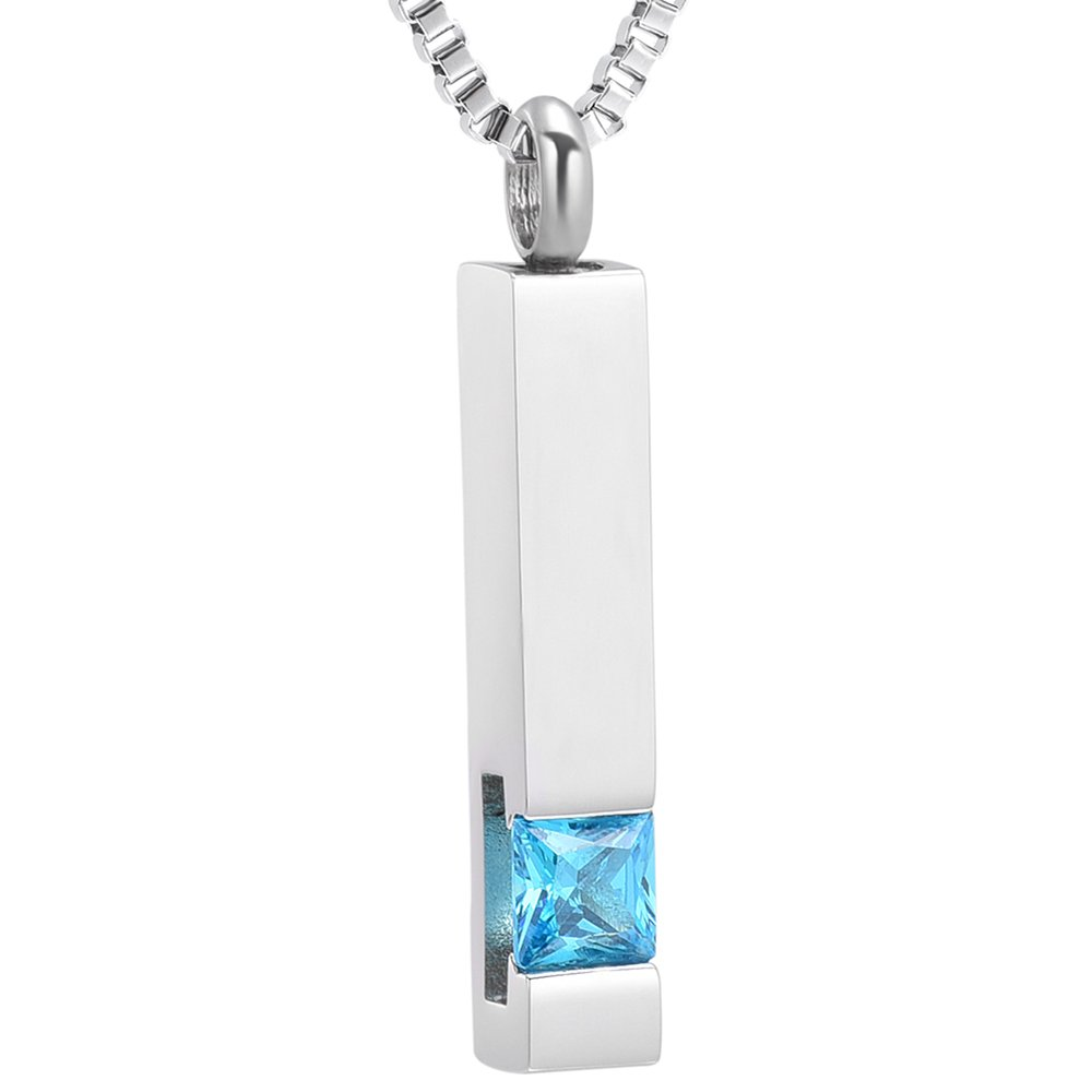 Crystal Memorial Jewelry Cube Keepsake Urn Necklace for Women Grandma, Silver Birthstone Serise XSMjewelry INC B07869SNC5_US