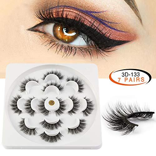 MAANGE Fake Eyelashes 3D Handmade False Eyelashes Thick Crisscross False Lashes Fluffy Long Soft Reusable 7 Pair Pack
