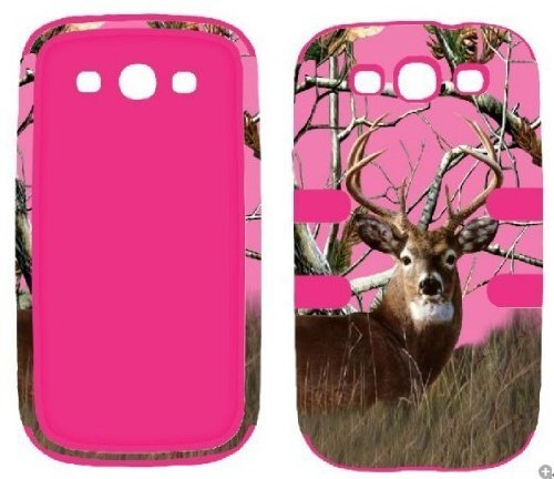 Samsung Galaxy S3 Camo - Hybrid 3 in 1 Pink Camo Deer Pine Samsung Galaxy S3 / S 3 / III i9300 High Impact Shock Defender Plastic Outside with Soft Silicon Inside Drop Defender Snap-on Cover Case