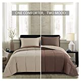 Brown King Size Comforter Homelike Moment Lightweight Comforter Set - King Brown Beige All Season Down Alternative Comforter Set Summer Duvet Insert 3 Piece - 1 Comforter with 2 Shams Reversible King Size Brown/Beige