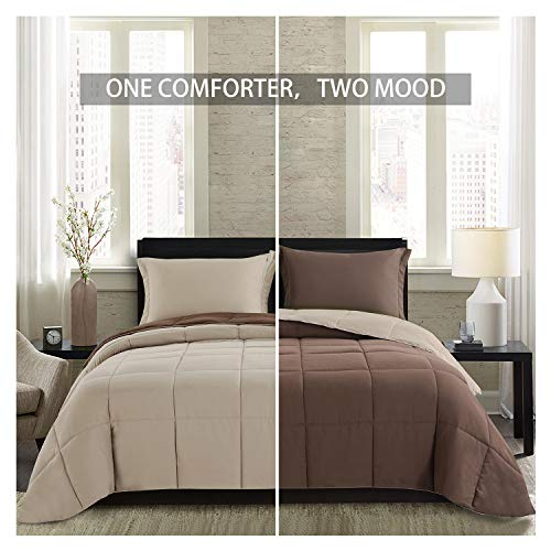 Homelike Moment Lightweight Comforter Set - Queen Brown Beige All Season Down Alternative Comforter Set Summer Duvet Insert 3 Piece - 1 Comforter with 2 Shams Reversible Full/Queen Size Brown/Beige (Brown Bed Comforter Set)