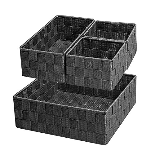 Posprica Woven Storage Box Cube Basket Bin Container Tote Organizer Divider for Drawer,Closet,Shelf, Dresser,set of 4 (Black) (Woven Box)