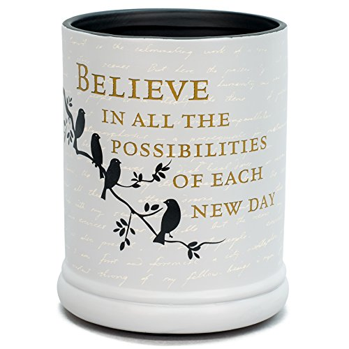Elanze Designs Birds on a Tree Grey Believe Ceramic Stoneware Electric Large Jar Candle Warmer ()