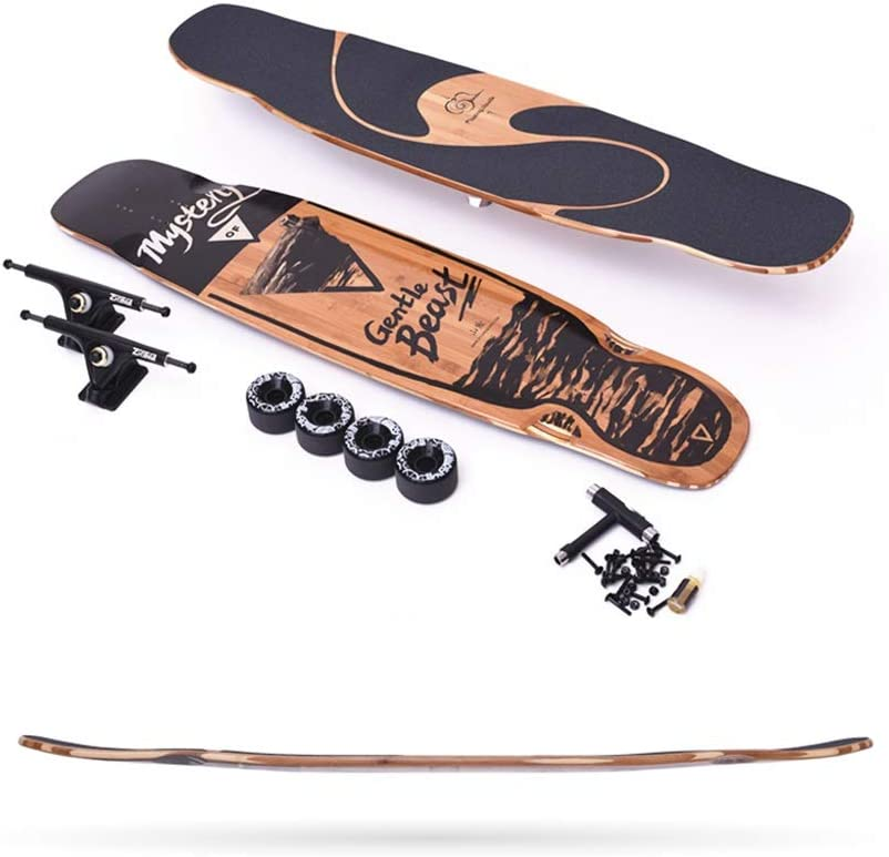 HXGL-スケートボード ロングボードプロロード初心者大人スケートボード男の子と女の子オールラウンドブラシストリートダンスボード(ホイールの色を交換することができます)  25-65KG