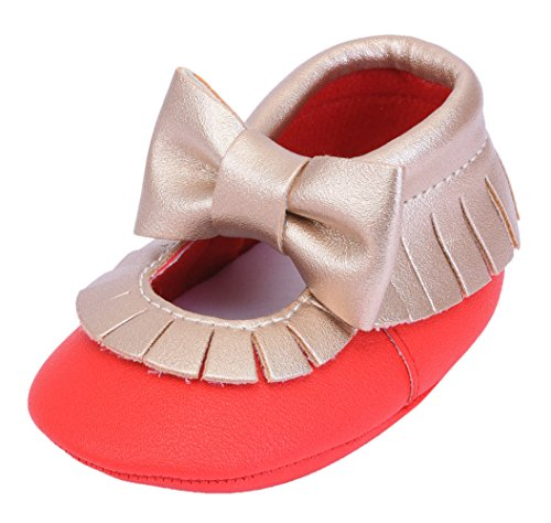 Cheeyi Toddler Infant Baby Boy Girl Moccasins Tassel Soft Sole Leather Crib Shoes Loafers (Gold Red,6-12 Months) (Footwear Leather Soft Gold)