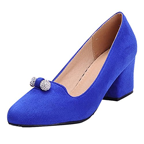 Mee Shoes Damen bequem Nubukleder Strass chunky heels Pumps Blau