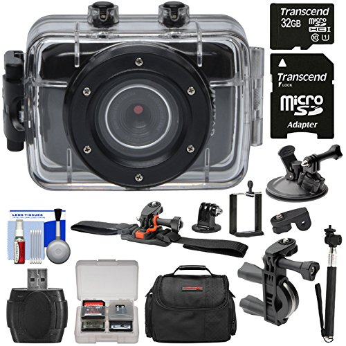 Vivitar DVR783HD HD Waterproof Action Video Camera Camcorder (Black) with Helmet, Bike & Suction Cup Mounts + 32GB Card + Case + Selfie Stick + Kit Action Cameras VIVITAR