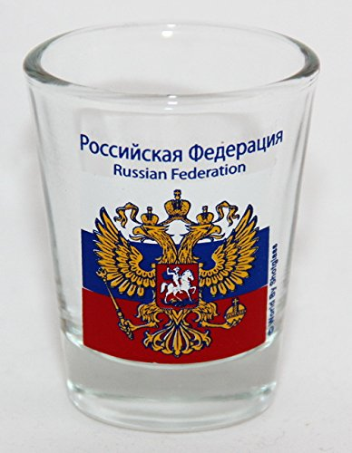 Russia Coat Of Arms and Flag Shot Glass