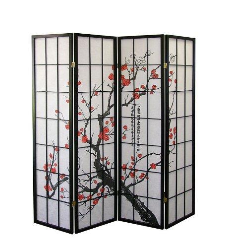 Plum Blossom Designs - Legacy Decor Room Divider Panel Screen with Plum Blossom Silhouettes Design
