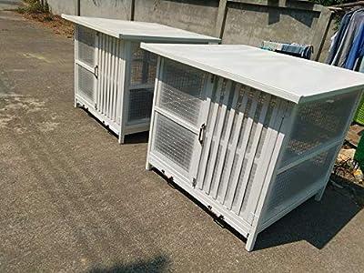 Polar Bear's Pet Shop Indoor Dog Crate End Table 2 Door White Wood Bed Kennel Furniture Bedroom Puppy