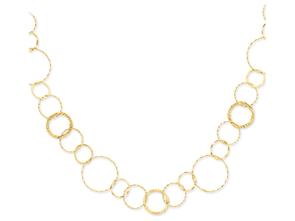Finejewelers 18 Inch 14k Yellow Gold Yellow Combo Circle Chain Necklace