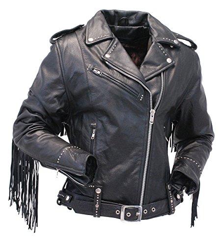 Jamin' Leather Ladies Stud & Fringe Leather Jacket (M) #L9028ZSFK - Fringe Motorcycle Jacket