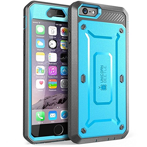 SUPCASE [Unicorn Beetle Pro] Case Designed for iPhone 6S, with Built-in Screen Protector Rugged Holster Cover for Apple iPhone 6 Case / 6S 4.7 Inch Display (Blue/Black)