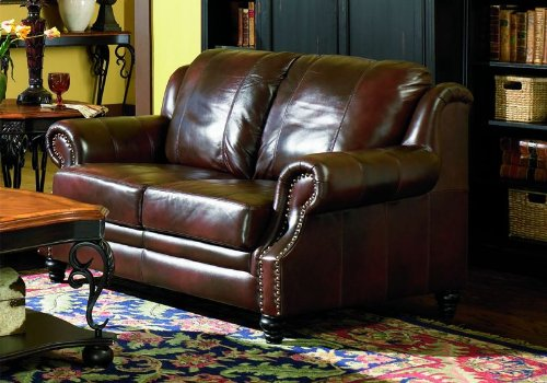 Loveseat Sofa Nail Head Trim Burgundy Tri Tone Leather