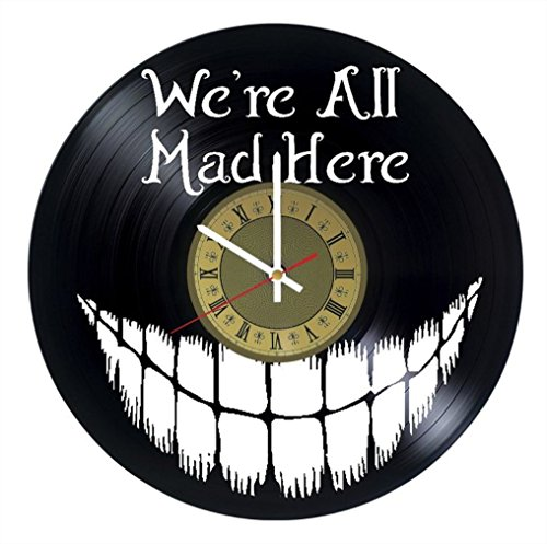 Cheshire Kitten vinyl wall clock Alice in Wonderland great gift for men, women, kids, girls and boys, birthday, christmas beautiful home decor - unique design that made out of vinyl LP record