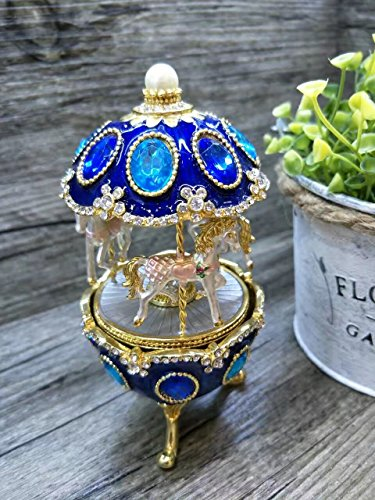 znewlook Whirligig Horse Music Box Clockwork Style Pewter Egg Carving Handicraft Mini Music Box with Musical Boxes Gifts for Love Girls (Blue)