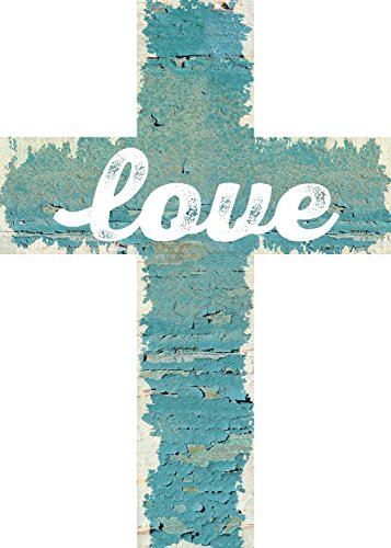 Cross Turquoise Wall (Love Turquoise Distressed Crackled Paint 7 x 5 Wood Wall Art Cross Plaque)