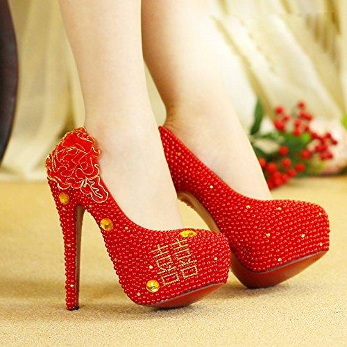 zapatos manualmente 41 Hi de de rojo boda five de los Heeled Zapatos novia vestido de Thirty cristal 14cm High KPHY boda perlas zapatos Word PwXSqxf