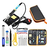 BoLu Soldering Iron Kit, 15pcs 60W 220V Adjustable Temperature Soldering Iron Set, Welding Tool with 5pcs Iron Tips Tweezers Solder Wire and More