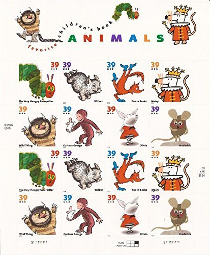 Animal Postage Stamps - Favorite Children's Book Animals, Full Sheet of 16 x 39-Cent Postage Stamps, USA 2005, Scott 3987-94