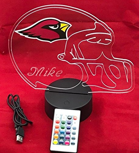 Arizona Cardinals Night Light (Arizona Cardinals NFL Light Up Lamp LED With Remote Personalized Free (Multi-colored, 12 Inches))