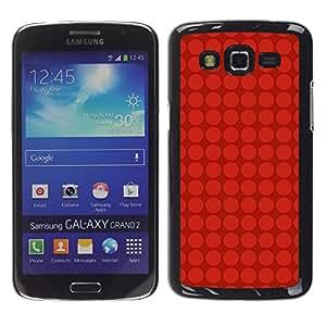 LECELL--Funda protectora / Cubierta / Piel For Samsung Galaxy Grand 2 SM-G7102 SM-G7105 -- Dot Red Grid Pattern Deep Dark --