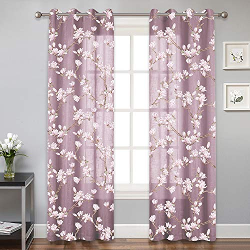 RYB HOME Semi Sheer Flower Curtain - Floral Print Curtains for Sliding Glass Door, Privacy Window Drapes for Wall Decor/Family Room/Cabin, 2 Panels, 52