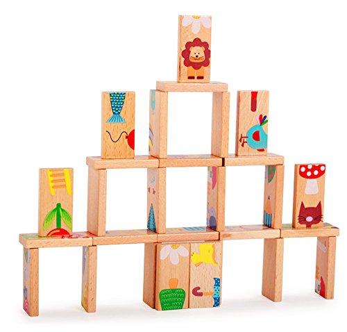 owikar Dominoブロックセット動物パズル木製パズル28個木製教育玩具子供ゲームギフトBuilding Blocks Stacking Dominoおもちゃセットfor Toddlers Preschool Learning Toys