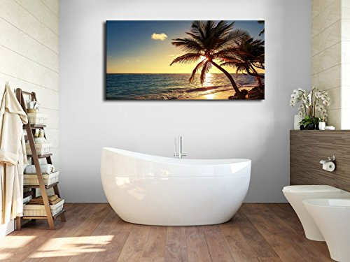 """Canvas Wall Art Susnet Beach Coconut Tree Panoramic Seascape Sea Scenery Painting - Long Canvas Artwork Contemporary Nature Picture for Home Office Wall Decor 20"""" x 40"""""""