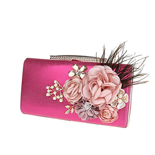 Bag Women's Fashion Bag Rose Wedding Floral KAXIDY Satin Prom Bridal Party Evening Clutch red axWSUqH