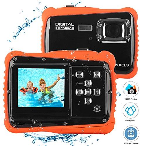 Bybrutek Kids Camera, 12MP HD Children Underwater 3M Waterproof Action Camera Camcorder, 2-Inch LCD, 4x Digital Zoom, 5 MP CMOS Digital Camera (Black) BYbrutek