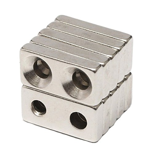 10pcs N35 20x10x4mm Block Countersunk Magnets Neodymium Magnets With 2 Holes SINGLE ITEM