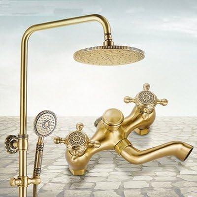 ZY-YY 蛇口現代ソリッドブラスアンティークブラスレインシャワー浴室の蛇口ロータスベースのミキサーのタップ、クリア