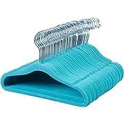 AmazonBasics Kids Velvet Hangers - 50-Pack, Blue