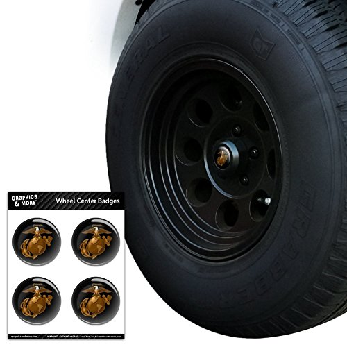 - Graphics and More Marine Corps USMC Golden Logo on Black Eagle Globe Anchor Officially Licensed Tire Wheel Center Cap Resin-Topped Badges Stickers - 1.8