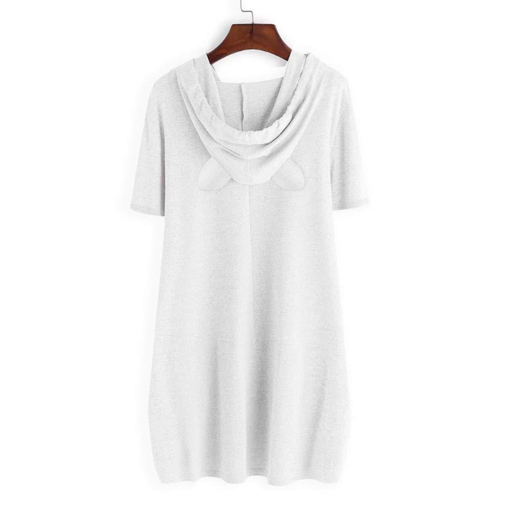 Beikoard Camiseta con Estampado de Oreja de Gato con Capucha para Mujer(M-5XL),Manga Corta,Tops Mujer Fiesta Tops Blusas para Mujer Tops Mujer Verano Blusas Mujer Sudadera de Las Mujeres
