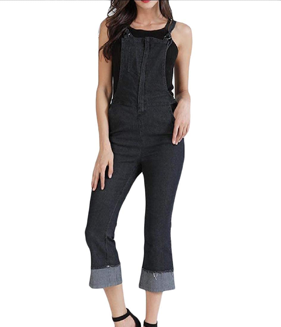 Coolred-Women Fit Flare Washed Ankle Jeans Rompers Simple Bib Overalls