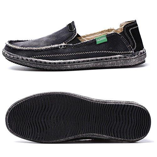 Gå Tur Mens Klassiska Duk Komfort Avslappnad Körning Öre Halka På Loafers A-svart