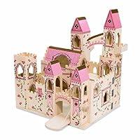Casa de muñecas de madera de Melissa y Doug, castillo de princesa plegable, con puente levadizo y torrecillas