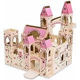 Melissa & Doug 11263 Folding Princess Castle Wooden Dollhouse With Drawbridge and Turrets